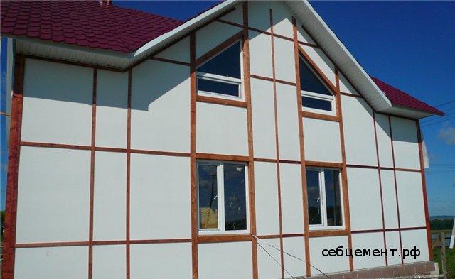фасад дома из плоского шифера купить обшить построить своими руками